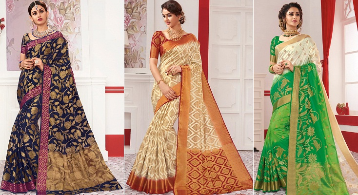 Rajguru Red Heena 6 Raw Silk Sarees Womenz Fashion