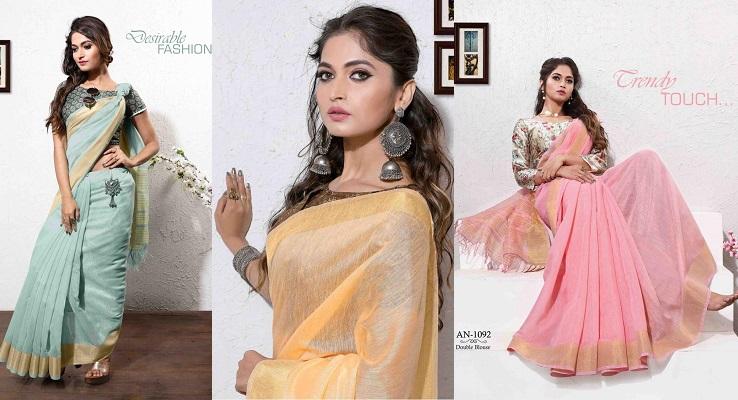 best deals on on sale online retro Plain Color Linen Saree with Double Blouse — Womenz Fashion